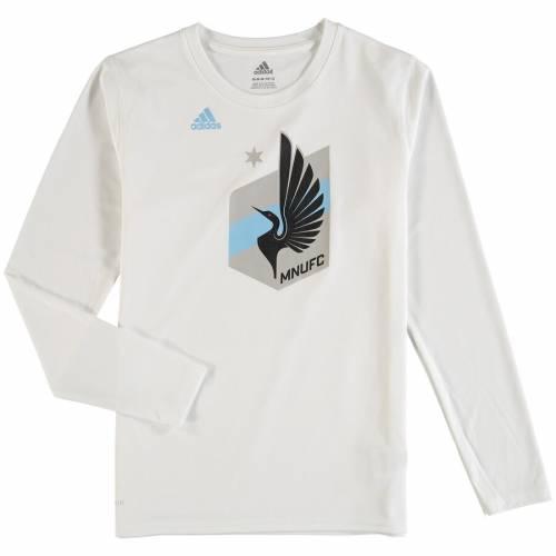 アディダス ADIDAS ミネソタ 子供用 パフォーマンス ロゴ スリーブ Tシャツ 白 ホワイト キッズ ベビー マタニティ ジュニア 【 Minnesota United Fc Youth Performance Logo Set Long Sleeve Climalite T-shirt -