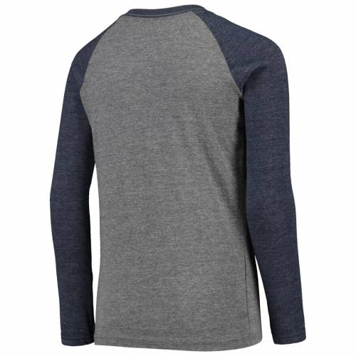 OUTERSTUFF バージニア 子供用 ラグラン スリーブ Tシャツ 灰色 グレー グレイ キッズ ベビー マタニティ トップス ジュニア 【 West Virginia Mountaineers Youth Equipped Raglan Tri-blend Long Sleeve T-shirt - H