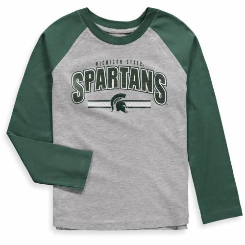 OUTERSTUFF ミシガン スケートボード 男の子 女の子 子供用 ベビー 赤ちゃん用 スリーブ ラグラン Tシャツ 灰色 グレー グレイ キッズ マタニティ トップス ジュニア 【 Michigan State Spartans Pre