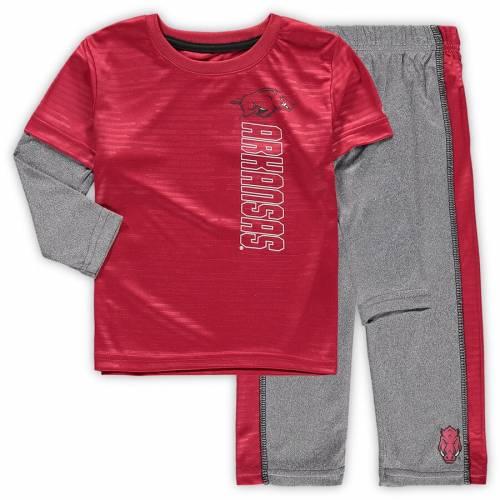 COLOSSEUM ベビー 赤ちゃん用 スリーブ Tシャツ 灰色 グレー グレイ キッズ マタニティ ジュニア 【 Arkansas Razorbacks Toddler Bayharts Long Sleeve T-shirt And Pants Set - Cardinal/heathered Gray 】 Cardinal/heathere