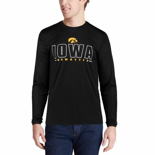 COLOSSEUM パフォーマンス スリーブ Tシャツ 黒 ブラック メンズファッション トップス カットソー メンズ 【 Iowa Hawkeyes Luge Performance Long Sleeve T-shirt - Black 】 Black