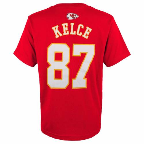 OUTERSTUFF カンザス シティ チーフス 子供用 Tシャツ 赤 レッド キッズ ベビー マタニティ トップス ジュニア 【 Travis Kelce Kansas City Chiefs Youth Mainliner Player Name And Number T-shirt - Red 】 Red