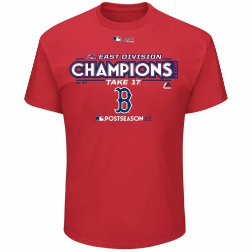 マジェスティック MAJESTIC ボストン 赤 レッド Tシャツ メンズファッション トップス カットソー メンズ 【 Boston Red Sox 2017 Al East Division Champions Locker Room Big And Tall T-shirt - Red 】 Red