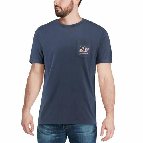 VINEYARD VINES バージニア Tシャツ 紺 ネイビー メンズファッション トップス カットソー メンズ 【 West Virginia Mountaineers Pocket T-shirt - Navy 】 Navy