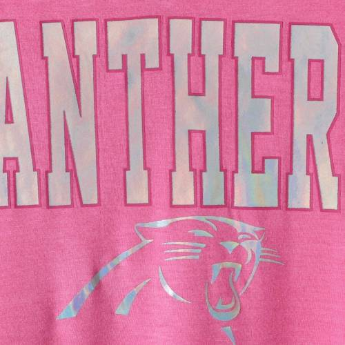 5TH & OCEAN BY NEW ERA カロライナ パンサーズ 子供用 ブイネック Tシャツ ピンク キッズ ベビー マタニティ トップス ジュニア 【 Carolina Panthers 5th And Ocean By New Era Youth Girls V-neck T-shirt - Pink