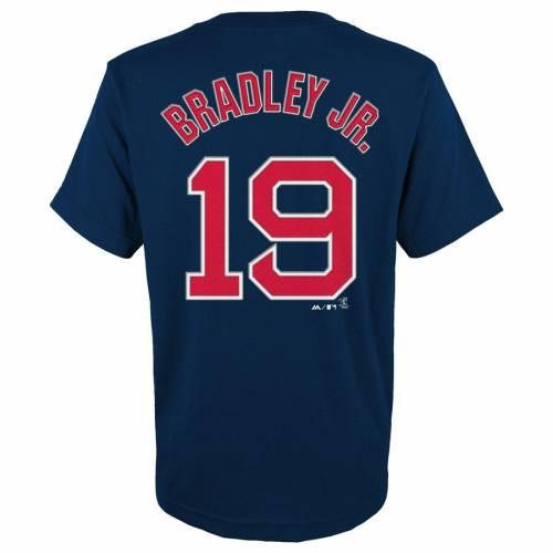 マジェスティック MAJESTIC ボストン 赤 レッド 子供用 Tシャツ 紺 ネイビー Jr. キッズ ベビー マタニティ トップス ジュニア 【 Jackie Bradley Jr. Boston Red Sox Youth Player Name And Number T-shirt - Navy