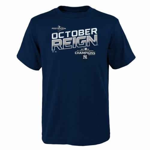 マジェスティック MAJESTIC ヤンキース 子供用 Tシャツ 紺 ネイビー キッズ ベビー マタニティ トップス ジュニア 【 New York Yankees Youth 2019 Al East Division Champions Locker Room T-shirt - Navy 】 Navy