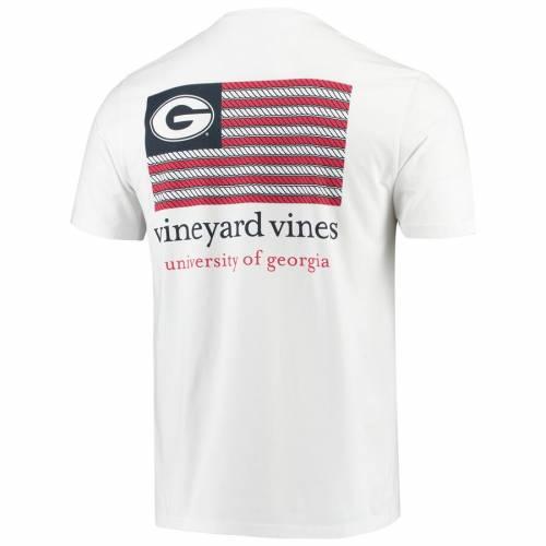 VINEYARD VINES Tシャツ 白 ホワイト メンズファッション トップス カットソー メンズ 【 Georgia Bulldogs Americana Flag T-shirt - White 】 White