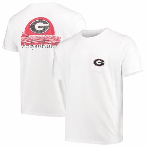 VINEYARD VINES Tシャツ 白 ホワイト メンズファッション トップス カットソー メンズ 【 Georgia Bulldogs Sunset T-shirt - White 】 White