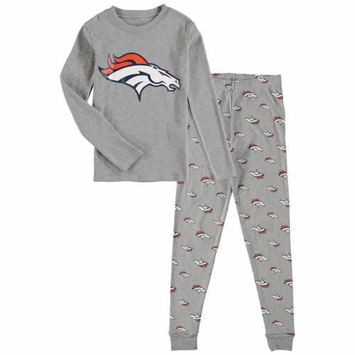 OUTERSTUFF デンバー ブロンコス 男の子 女の子 子供用 スリーブ Tシャツ 灰色 グレー グレイ キッズ ベビー マタニティ ジュニア 【 Denver Broncos Preschool Long Sleeve T-shirt And Pants Sleep Set - Heathere
