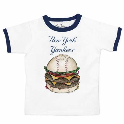 TINY TURNIP ヤンキース 子供用 Tシャツ キッズ ベビー マタニティ トップス ジュニア 【 New York Yankees Youth Ringer Burger T-shirt - White/navy 】 White/navy