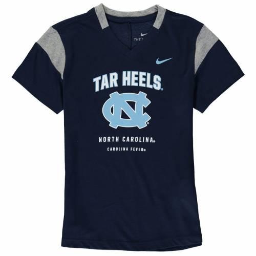 ナイキ NIKE ノース カロライナ 子供用 ブイネック Tシャツ 紺 ネイビー キッズ ベビー マタニティ トップス ジュニア 【 North Carolina Tar Heels Girls Youth Fan V-neck T-shirt - Navy 】 Navy