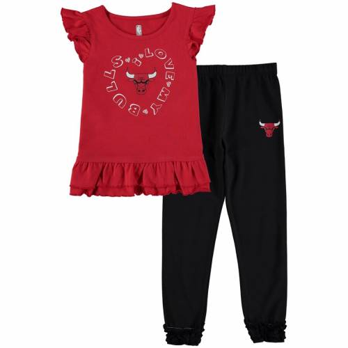 NBA EXCLUSIVE COLLECTION シカゴ ブルズ 男の子 女の子 子供用 パンツ Tシャツ 赤 レッド キッズ ベビー マタニティ ジュニア 【 Chicago Bulls Preschool Love Ruffle Pant And T-shirt Set - Red 】 Red