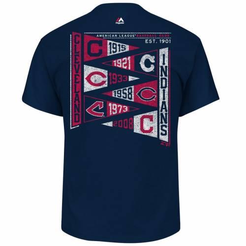 マジェスティック MAJESTIC クリーブランド インディアンズ ウェーブ ウェイブ Tシャツ 紺 ネイビー メンズファッション トップス カットソー メンズ 【 Cleveland Indians Wave The Pennant T-shirt -