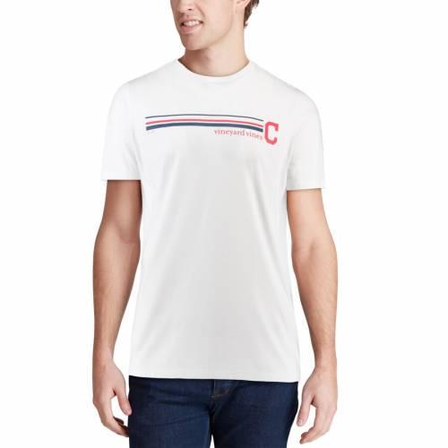 VINEYARD VINES クリーブランド インディアンズ ストライプ Tシャツ 白 ホワイト メンズファッション トップス カットソー メンズ 【 Cleveland Indians Three Stripe T-shirt - White 】 White