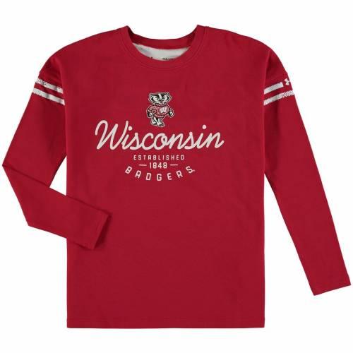 アンダーアーマー UNDER ARMOUR ウィスコンシン 子供用 スリーブ ストライプ パフォーマンス Tシャツ 赤 レッド キッズ ベビー マタニティ トップス ジュニア 【 Wisconsin Badgers Girls Youth Charge