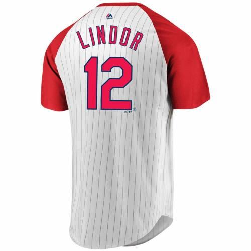 マジェスティック MAJESTIC クリーブランド インディアンズ Tシャツ メンズファッション トップス カットソー メンズ 【 Francisco Lindor Cleveland Indians Everything In Order Pinstripe Name And Number T-shirt