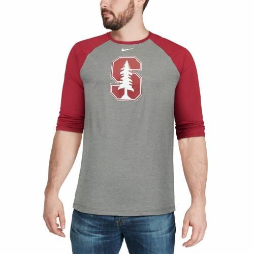 ナイキ NIKE スタンフォード 赤 カーディナル ロゴ ラグラン Tシャツ メンズファッション トップス カットソー メンズ 【 Stanford Cardinal Logo Tri-blend 3/4-sleeve Raglan T-shirt - Charcoal/cardinal 】 Cha