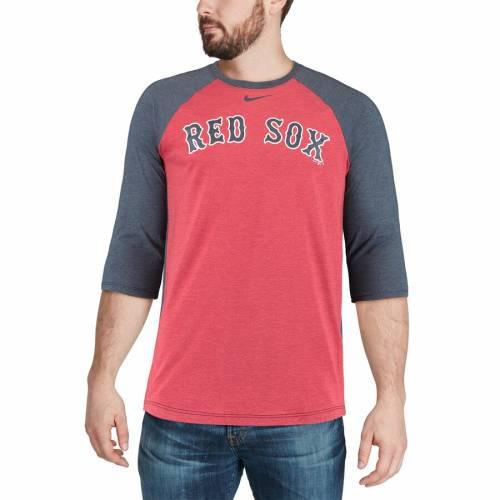 ナイキ NIKE ボストン 赤 レッド ラグラン Tシャツ メンズファッション トップス カットソー メンズ 【 Boston Red Sox Wordmark Tri-blend Raglan 3/4-sleeve T-shirt - Red/navy 】 Red/navy