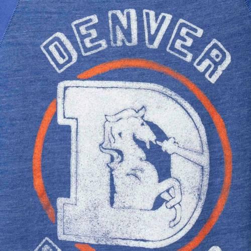 JUNK FOOD デンバー ブロンコス ラグラン Tシャツ メンズファッション トップス カットソー メンズ 【 Denver Broncos Contrast 3/4-sleeve Raglan Tri-blend T-shirt - Heathered Royal/royal 】 Heathered Royal/royal