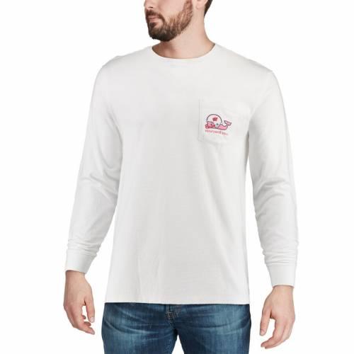 VINEYARD VINES ウィスコンシン スリーブ Tシャツ 白 ホワイト メンズファッション トップス カットソー メンズ 【 Wisconsin Badgers Long Sleeve Pocket T-shirt - White 】 White