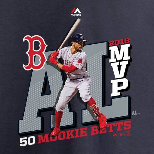 マジェスティック MAJESTIC ボストン 赤 レッド Tシャツ 紺 ネイビー メンズファッション トップス カットソー メンズ 【 Mookie Betts Boston Red Sox 2018 Al Mvp T-shirt - Navy 】 Navy