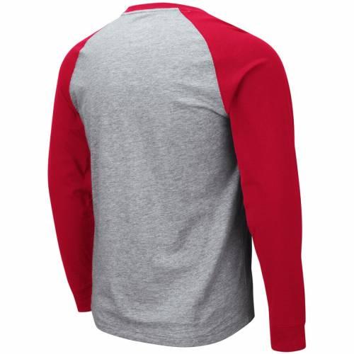 COLOSSEUM ウィスコンシン スリーブ Tシャツ 【 SLEEVE WISCONSIN BADGERS LONG TSHIRT HEATHERED GRAY RED 】 メンズファッション トップス カットソー 送料無料