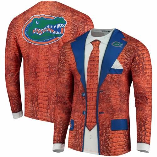 FAUX REAL フロリダ スリーブ Tシャツ 橙 オレンジ メンズファッション トップス カットソー メンズ 【 Florida Gators Suit Long Sleeve T-shirt - Orange 】 Orange