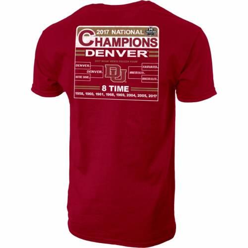 STEP AHEAD SPORTSWEAR デンバー Tシャツ MEN'S 【 STEP AHEAD SPORTSWEAR DENVER PIONEERS 2017 NCAA HOCKEY NATIONAL CHAMPIONS TSHIRT CRIMSON 】 メンズファッション トップス Tシャツ カットソー