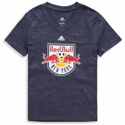 アディダス ADIDAS 赤 レッド ブルズ 子供用 ロゴ ブイネック Tシャツ 紺 ネイビー キッズ ベビー マタニティ トップス ジュニア 【 New York Red Bulls Girls Youth Primary Logo V-neck Tri-blend T-shirt - Nav