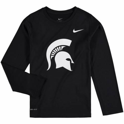 ナイキ NIKE ミシガン スケートボード 子供用 レジェンド ロゴ スリーブ パフォーマンス Tシャツ 黒 ブラック キッズ ベビー マタニティ トップス ジュニア 【 Michigan State Spartans Youth Legend
