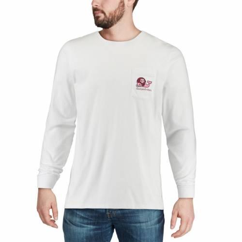 VINEYARD VINES テキサス スリーブ Tシャツ 白 ホワイト メンズファッション トップス カットソー メンズ 【 Texas Aandm Aggies Pocket Long Sleeve T-shirt - White 】 White