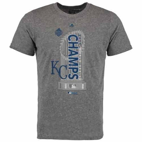 MAJESTIC THREADS カンザス シティ ロイヤルズ シリーズ Tシャツ 灰色 グレー グレイ メンズファッション トップス カットソー メンズ 【 Kansas City Royals 2015 World Series Champions Tri-blend T-shirt - Gra