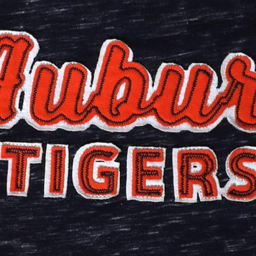COLOSSEUM タイガース 子供用 スリーブ Tシャツ 紺 ネイビー キッズ ベビー マタニティ トップス ジュニア 【 Auburn Tigers Girls Youth Brain Double Layer Front Tie Long Sleeve T-shirt - Navy 】 Navy