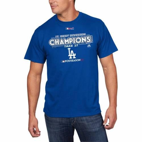 スポーツブランド カジュアル ファッション トップス 半袖 値引き マジェスティック MAJESTIC ドジャース Tシャツ 商品追加値下げ在庫復活 ロサンゼルス 2017 カットソー NL TSHIRT メンズファッション ROOM LOCKER DIVISION CHAMPIONS ROYAL WEST