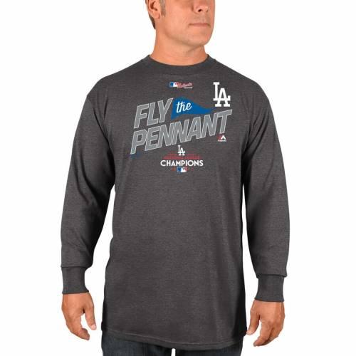 マジェスティック MAJESTIC ドジャース スリーブ Tシャツ チャコール メンズファッション トップス カットソー メンズ 【 Los Angeles Dodgers 2017 National League Champions Locker Room Long Sleeve T-shirt - Ch