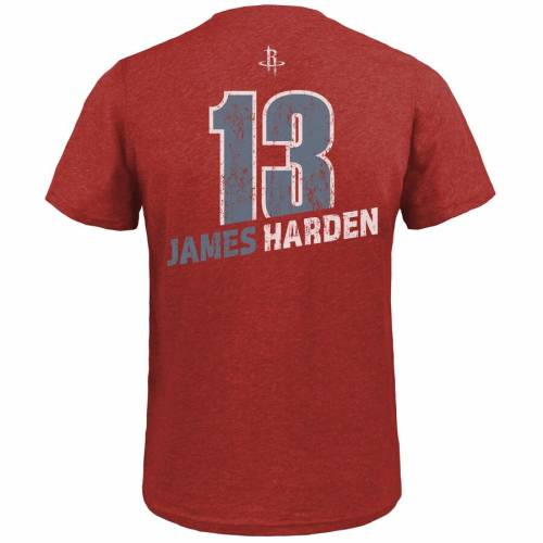 MAJESTIC THREADS ジェームズ ハーデン ヒューストン ロケッツ Tシャツ 赤 レッド メンズファッション トップス カットソー メンズ 【 James Harden Houston Rockets Name And Number Tri-blend T-shirt - Red 】 R