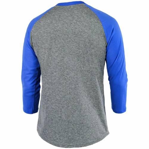 MAJESTIC THREADS ドジャース ロゴ ラグラン Tシャツ メンズファッション トップス カットソー メンズ 【 Los Angeles Dodgers Current Logo 3/4-sleeve Raglan Tri-blend T-shirt - Heathered Gray/royal 】 Heathered Gray/ro