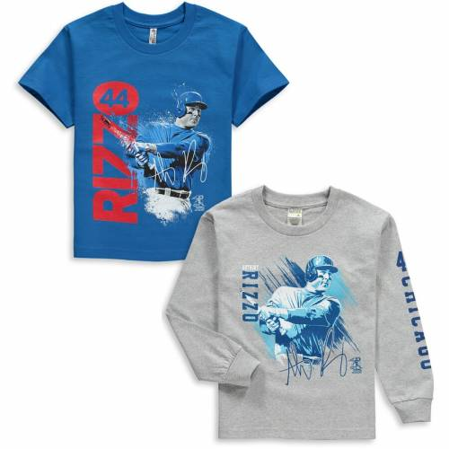 COED SPORTSWEAR アンソニー シカゴ カブス 子供用 グラフィック Tシャツ キッズ ベビー マタニティ ジュニア 【 Anthony Rizzo Chicago Cubs Youth Splash Player Graphic 2-pack T-shirt Set - Royal/gray 】 Royal/gray
