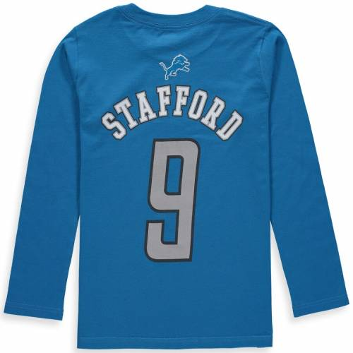 OUTERSTUFF デトロイト ライオンズ 子供用 スリーブ Tシャツ 青 ブルー キッズ ベビー マタニティ トップス ジュニア 【 Matthew Stafford Detroit Lions Youth Mainliner Name And Number Long Sleeve T-shirt - Blue
