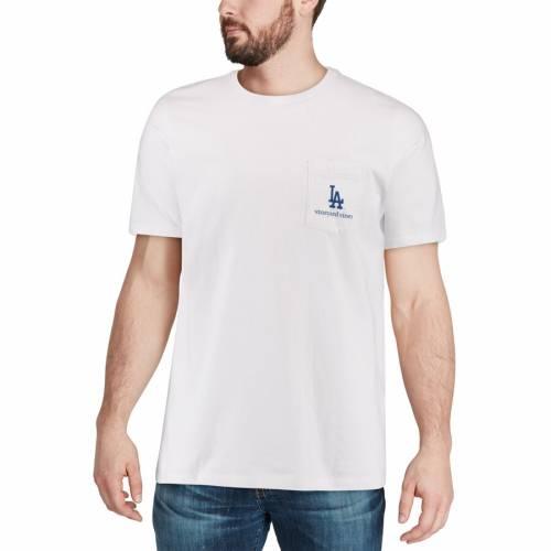 VINEYARD VINES ドジャース Tシャツ 白 ホワイト メンズファッション トップス カットソー メンズ 【 Los Angeles Dodgers Bar Flag Pocket T-shirt - White 】 White