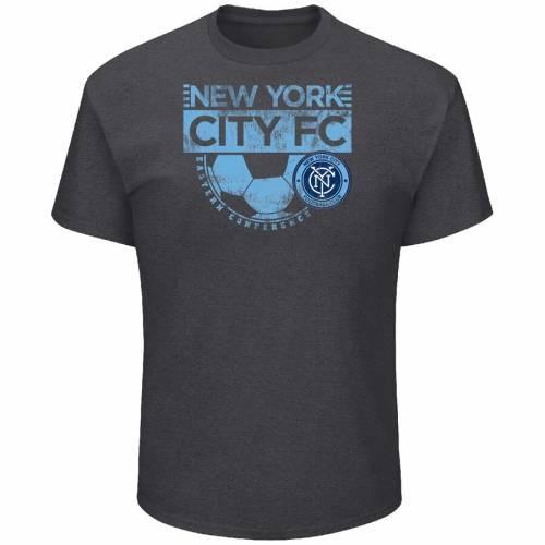 マジェスティック MAJESTIC シティ Tシャツ & 【 NEW YORK CITY FC BIG TALL EVERY MINUTE TSHIRT CHARCOAL 】 メンズファッション トップス カットソー 送料無料