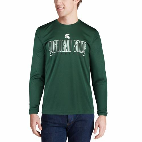 COLOSSEUM ミシガン スケートボード パフォーマンス スリーブ Tシャツ 緑 グリーン 【 STATE SLEEVE GREEN COLOSSEUM MICHIGAN SPARTANS LUGE PERFORMANCE LONG TSHIRT 】 メンズファッション トップス Tシャツ カ