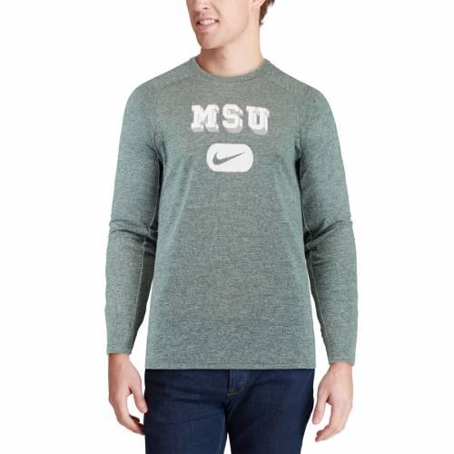 ナイキ NIKE ミシガン スケートボード パフォーマンス スリーブ Tシャツ 緑 グリーン メンズファッション トップス カットソー メンズ 【 Michigan State Spartans Retro Wordmark Performance Long Sleeve T