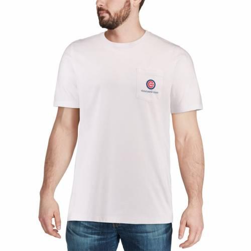 VINEYARD VINES シカゴ カブス Tシャツ 白 ホワイト メンズファッション トップス カットソー メンズ 【 Chicago Cubs Bar Flag Pocket T-shirt - White 】 White