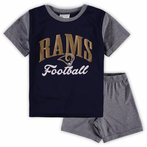 NFL PRO LINE BY FANATICS BRANDED ラムズ ベビー 赤ちゃん用 ビクトリー スクリプト Tシャツ 灰色 グレー グレイ キッズ マタニティ ジュニア 【 Los Angeles Rams Toddler Two-piece Victory Script T-shirt And Shor