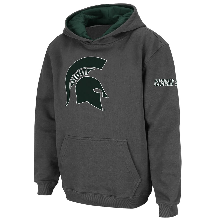 STADIUM ATHLETIC ミシガン スケートボード 子供用 ロゴ キッズ ベビー マタニティ トップス ジュニア 【 Michigan State Spartans Youth Big Logo Pullover Hoodie 】 Charcoal