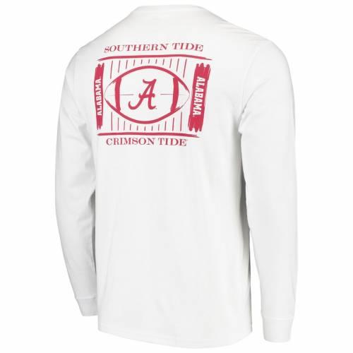 SOUTHERN TIDE アラバマ スタジアム スリーブ Tシャツ 白 ホワイト メンズファッション トップス カットソー メンズ 【 Alabama Crimson Tide Stadium Long Sleeve T-shirt - White 】 White