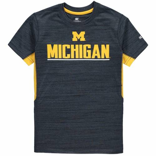 COLOSSEUM ミシガン 子供用 Tシャツ 紺 ネイビー キッズ ベビー マタニティ トップス ジュニア 【 Michigan Wolverines Youth Over The Fence Poly T-shirt - Navy 】 Navy