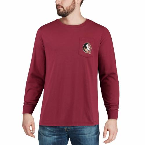 SOUTHERN TIDE フロリダ スケートボード スリーブ Tシャツ 【 STATE SLEEVE SOUTHERN TIDE FLORIDA SEMINOLES SKIPJACK PLAY LONG TSHIRT GARNET 】 メンズファッション トップス Tシャツ カットソー